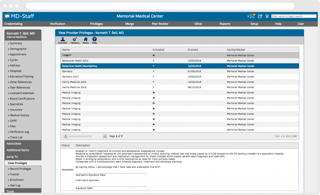 MD-Staff Screenshot Credentialing